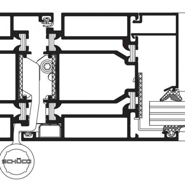 Структура Противопожарни врати Schüco ADS 80 FR 30