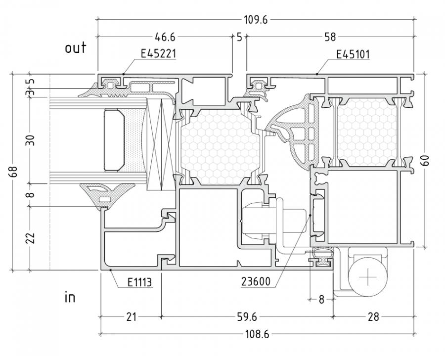 Схема на алуминиева система за дограма ETEM E45