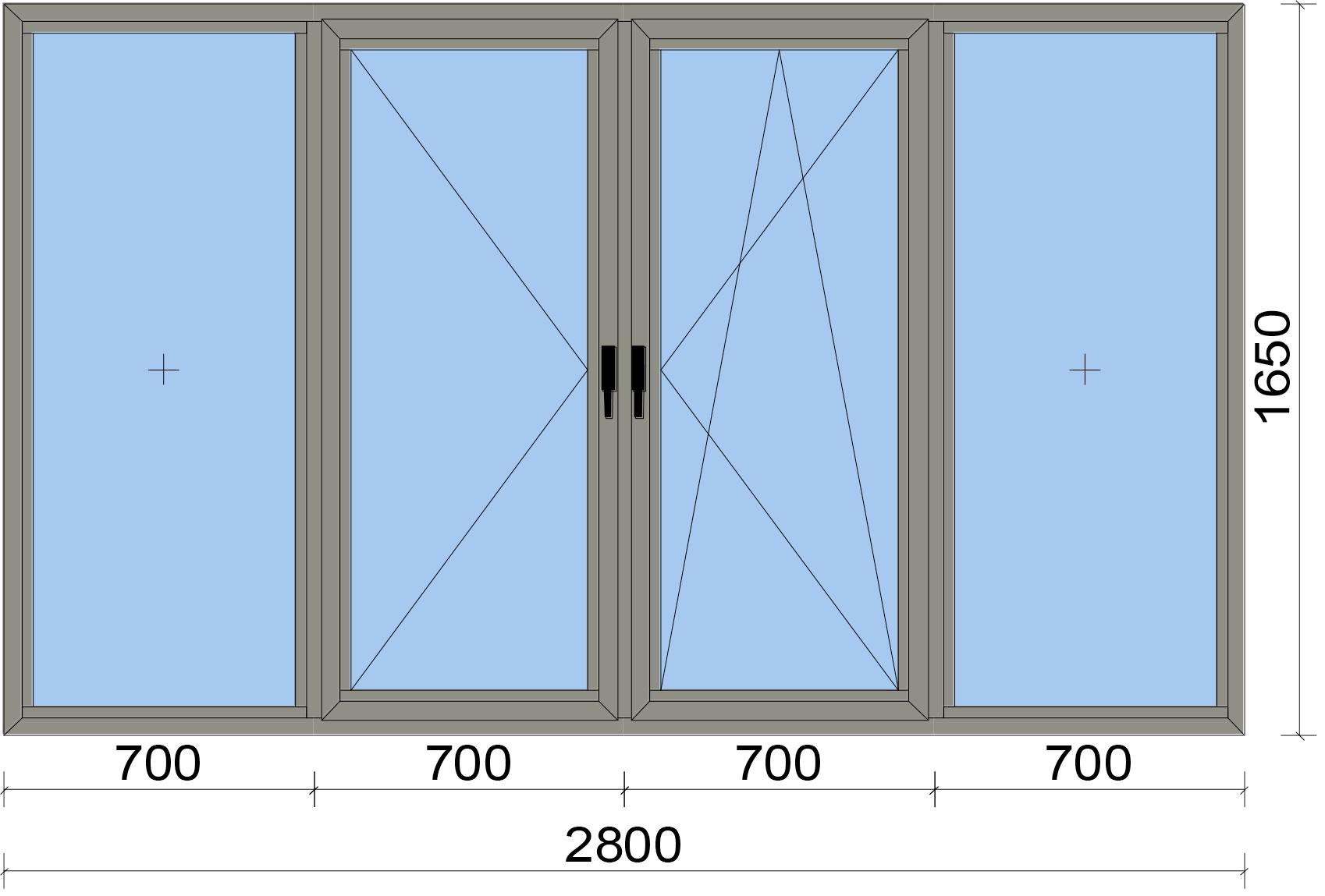 Прозорец от четири части с едно еднососово и едно двуосово отваряемо крило