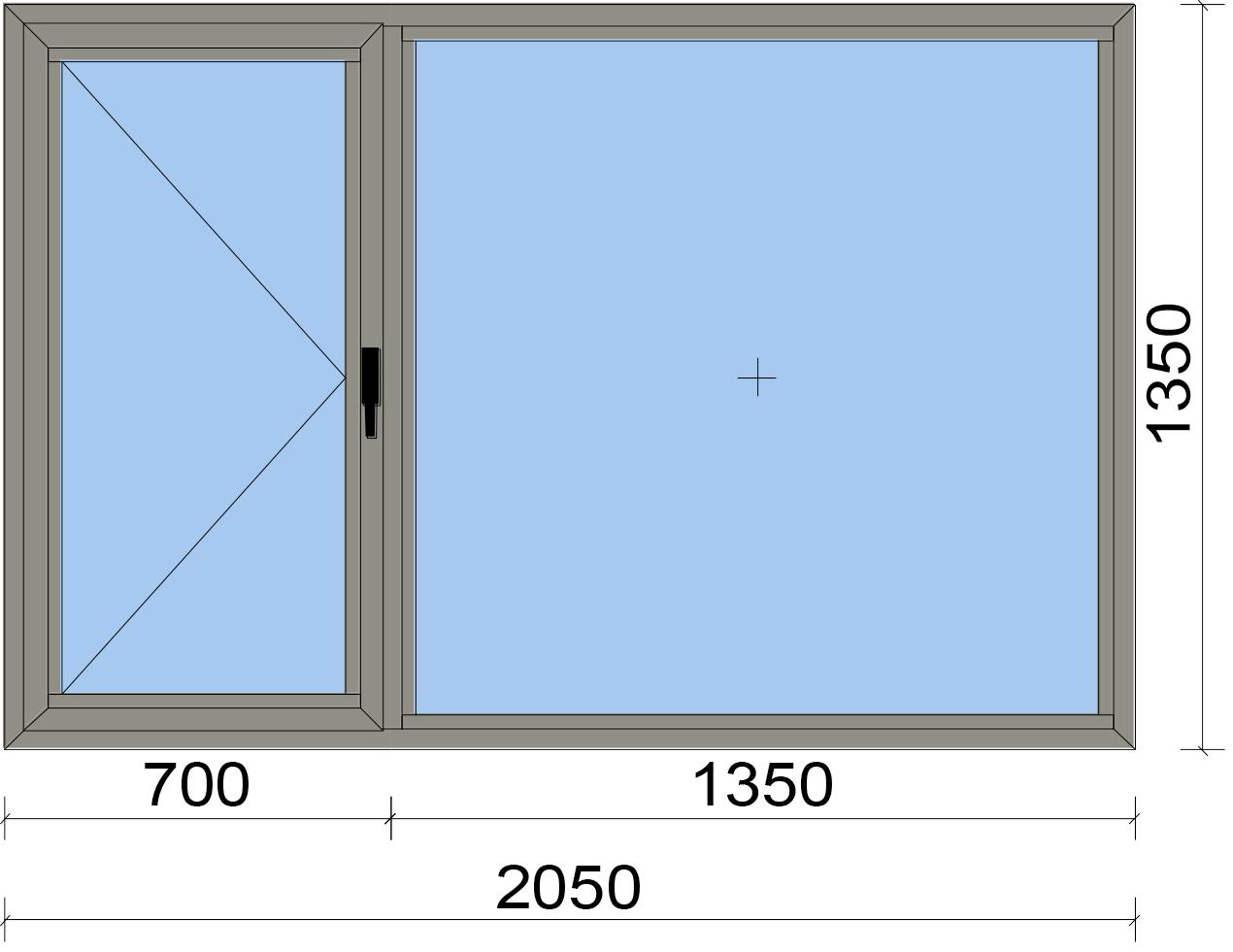 Прозорец от две части с едно отвариаемо крило