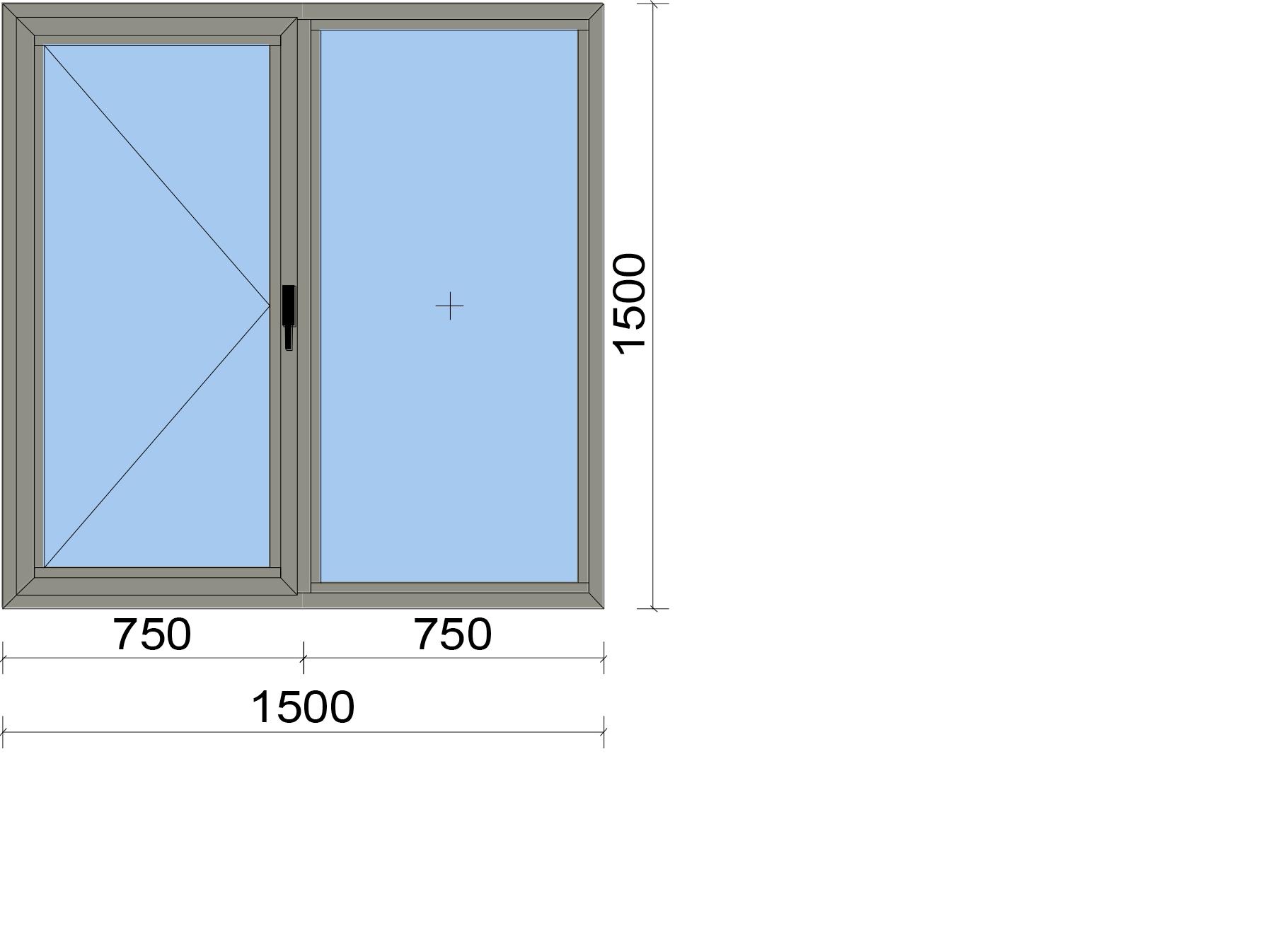 Прозорец от две части с едно едноосово отваряемо крило
