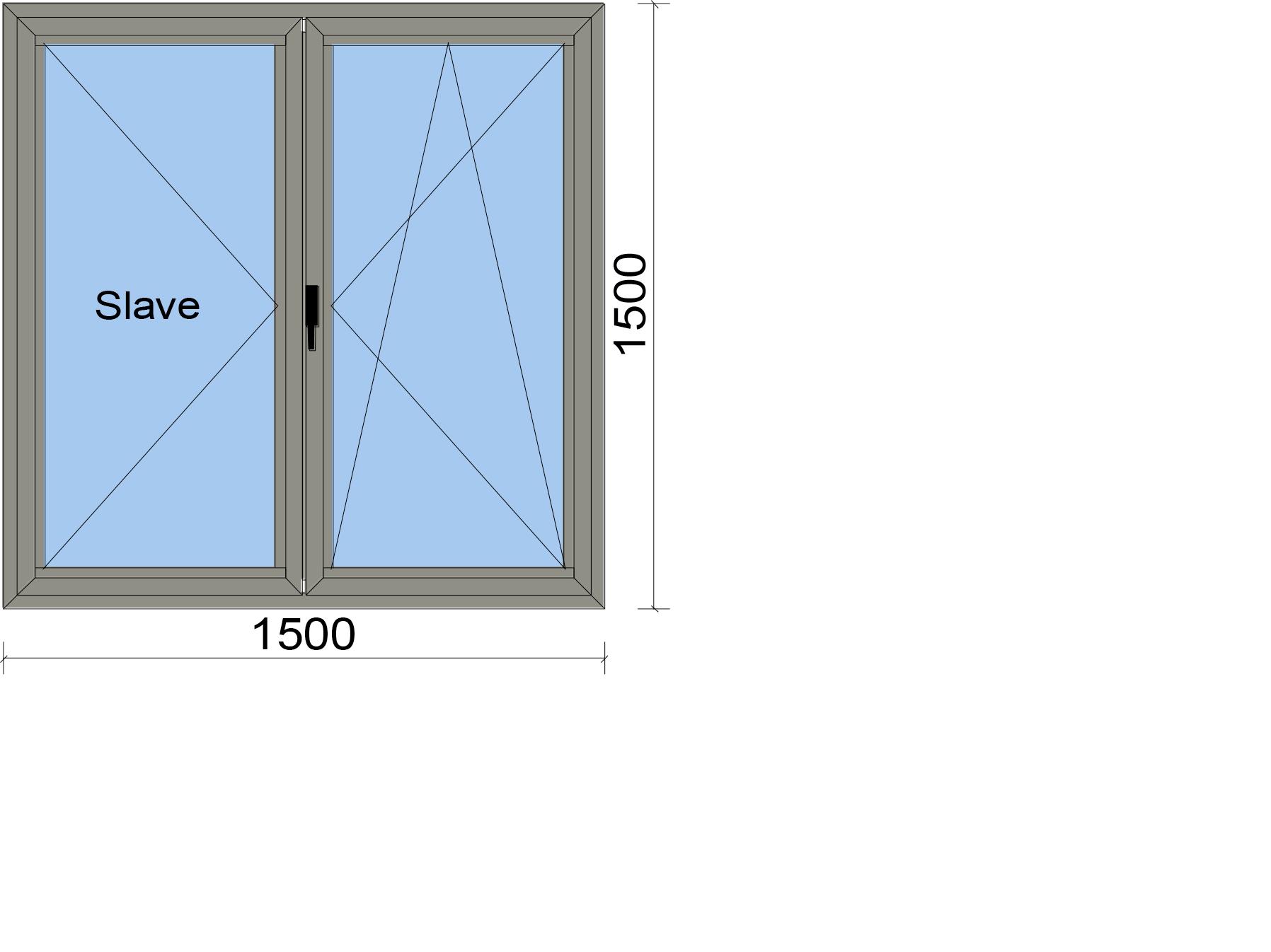 Прозорец от две части с летящ делител с едно едноосово и едно двуосово отваряемо крило