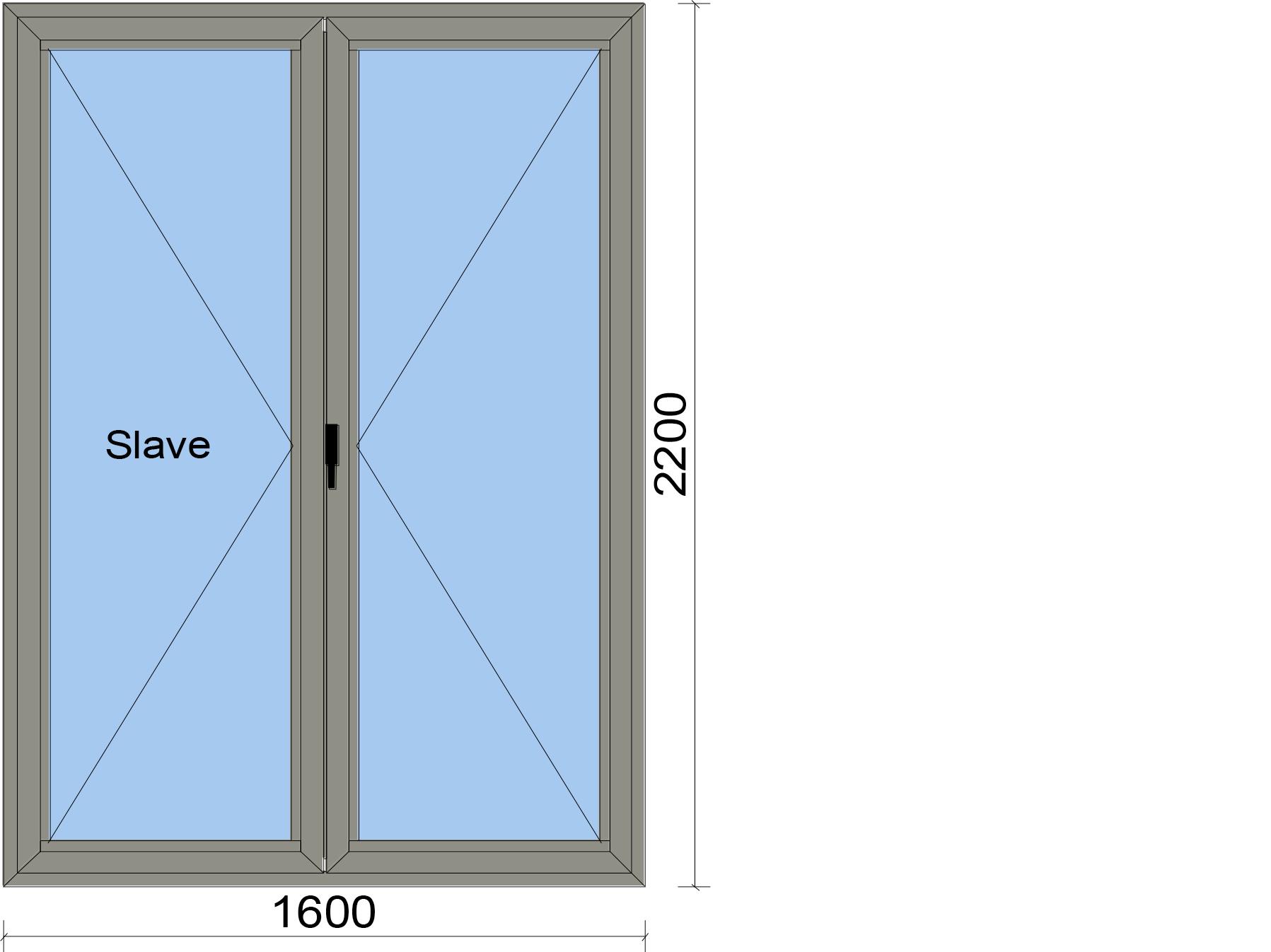 Прозорец от две части с летящ делител и две едноосово отваряеми крила