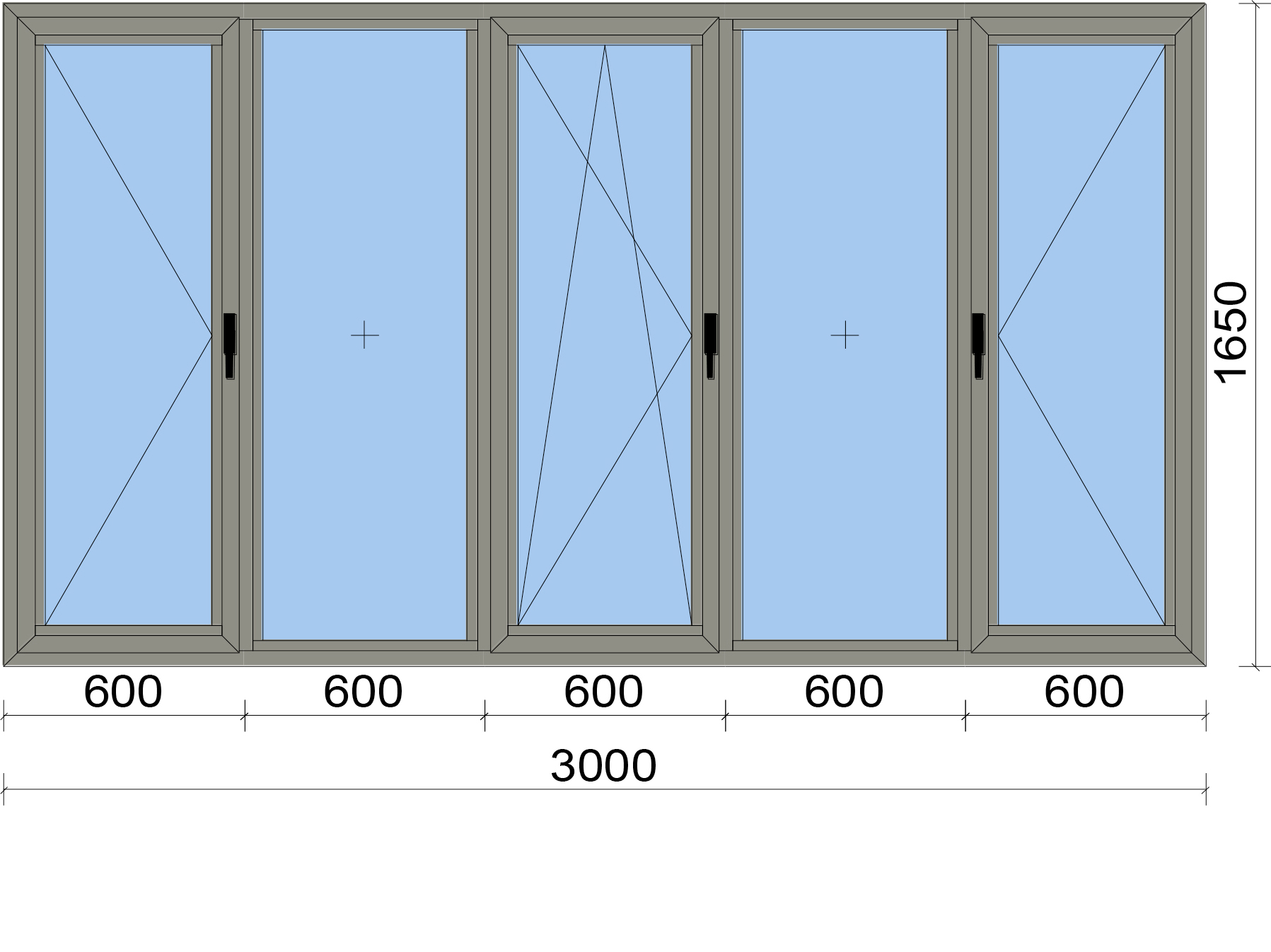 Прозорец от пет части с три отваряеми крила, едното, от които двуосово