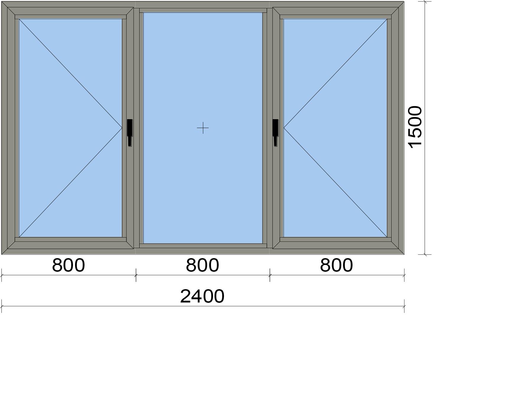 Прозорец от три части с две едноосово отваряеми крила
