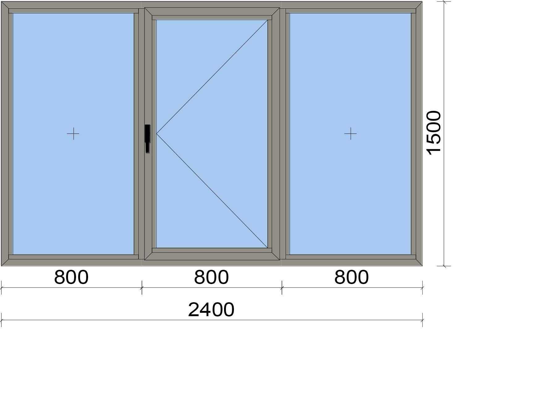 Прозорец от три части с едно едноосово отваряемо крило