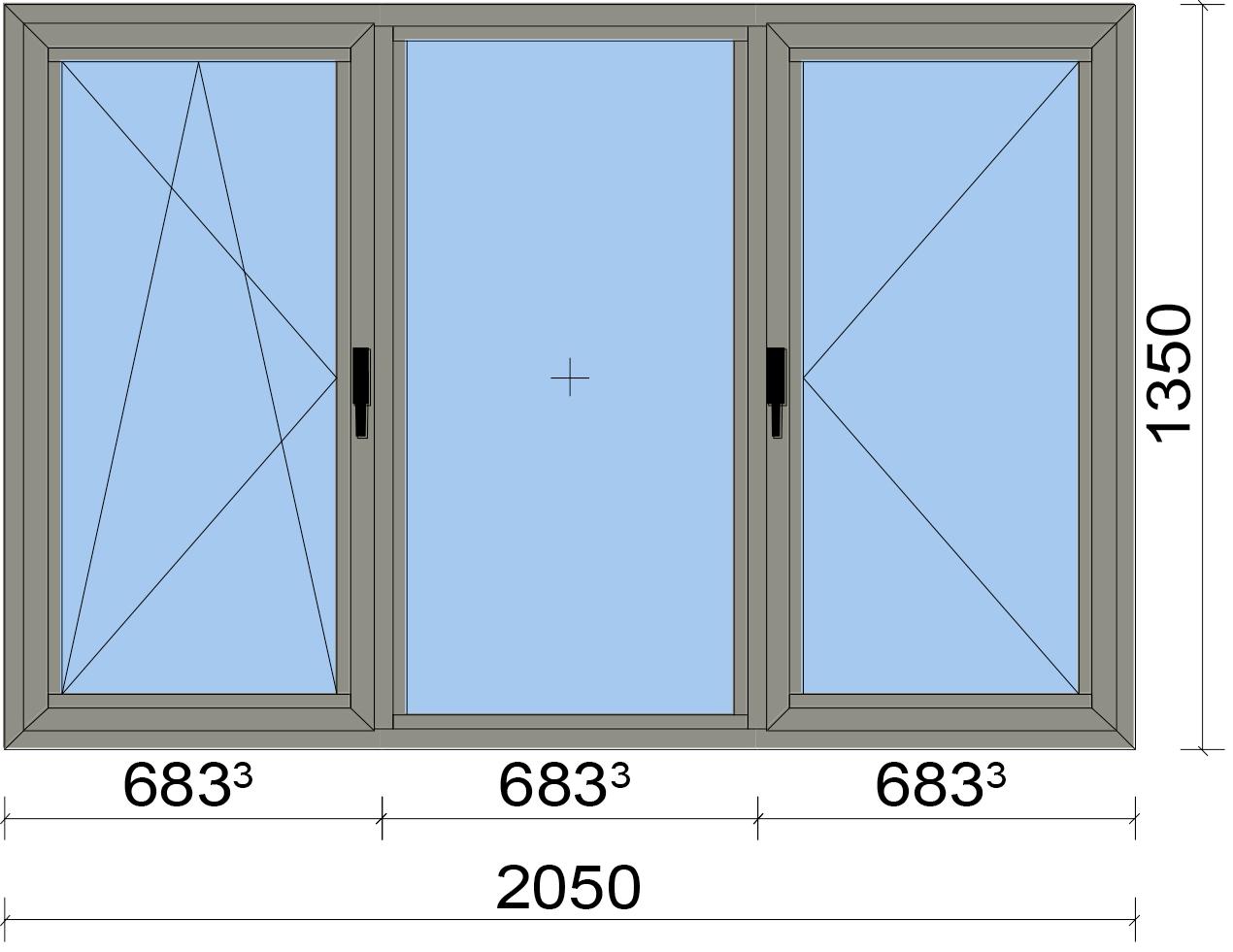 Прозорец от три части с едно еднососово и едно двуосово отваряемо крило