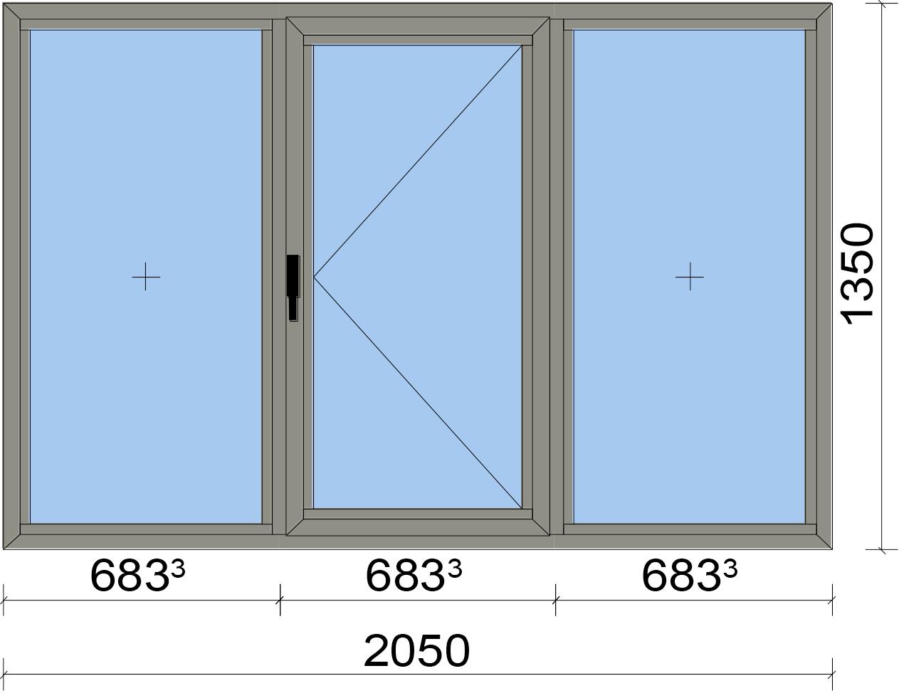 Прозорец от три части с едно отвариаемо крило