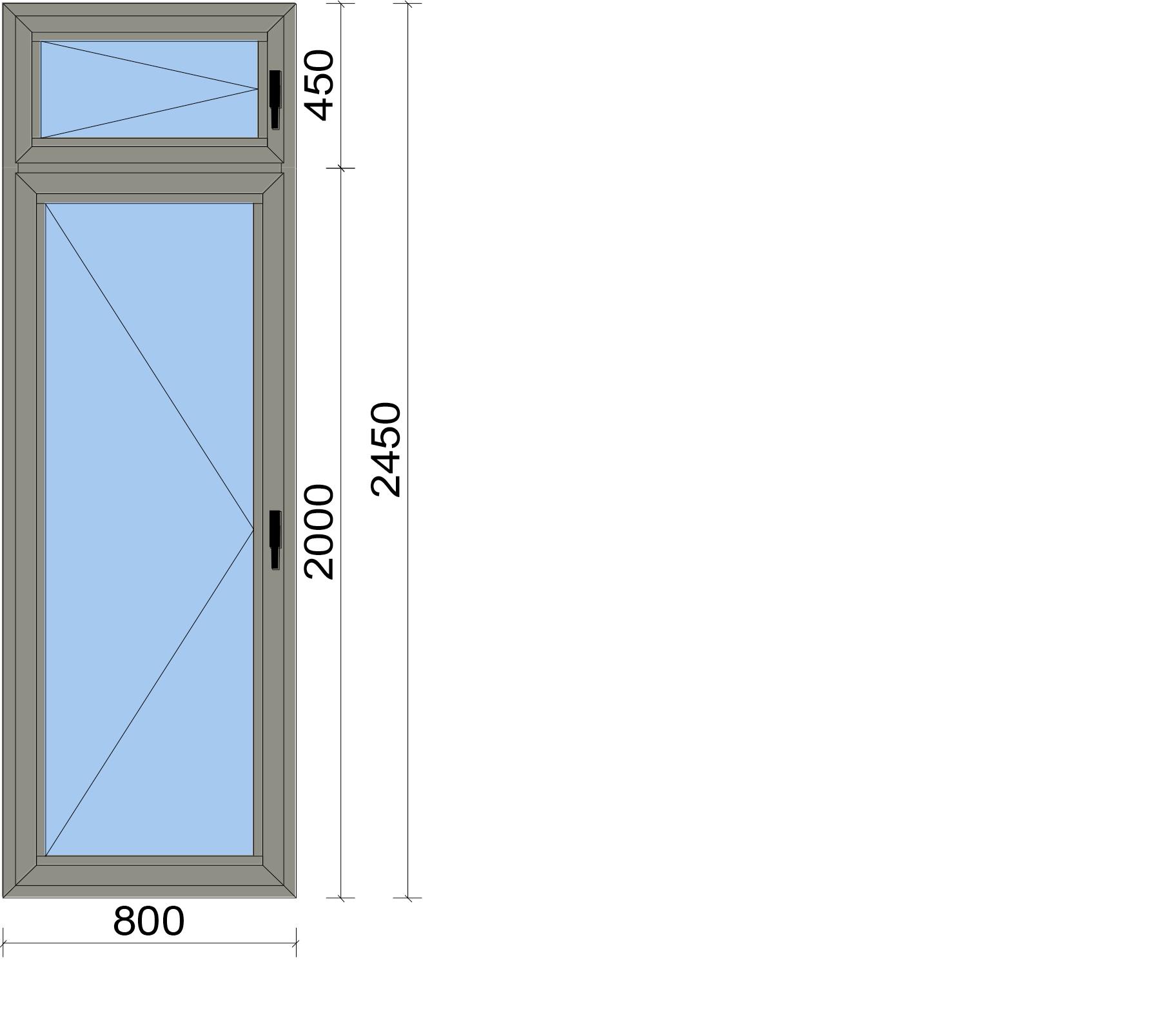 Врата от две части с две едноосово отваряеми крила
