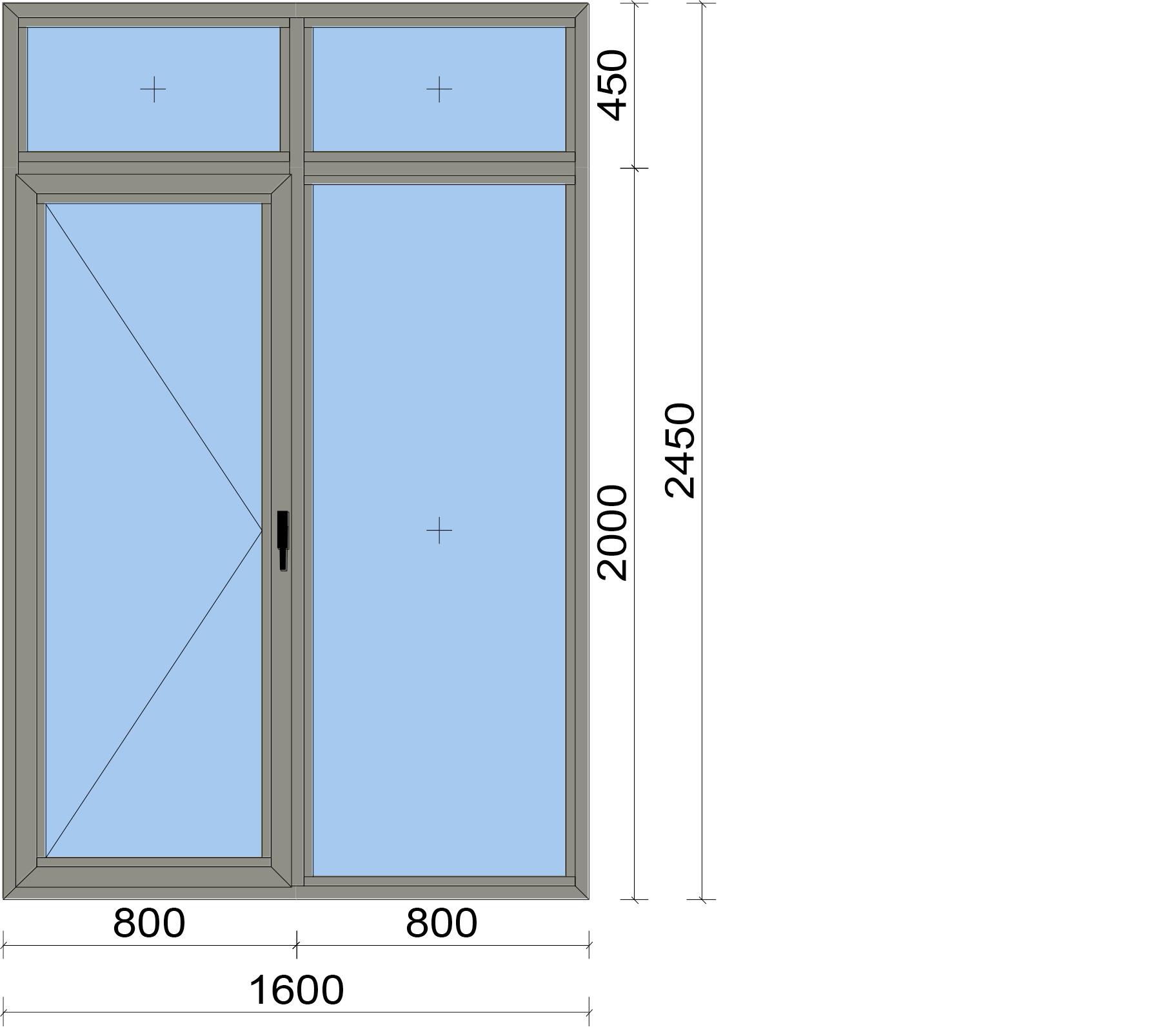 Прозорец от четири части с едноосово отваряема врата