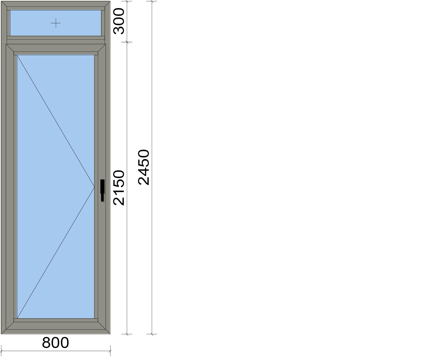 Врата с едноосово отваряемо крило и фикс